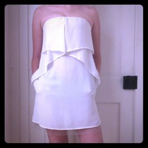 BCBGMaxAzria short white silky dress